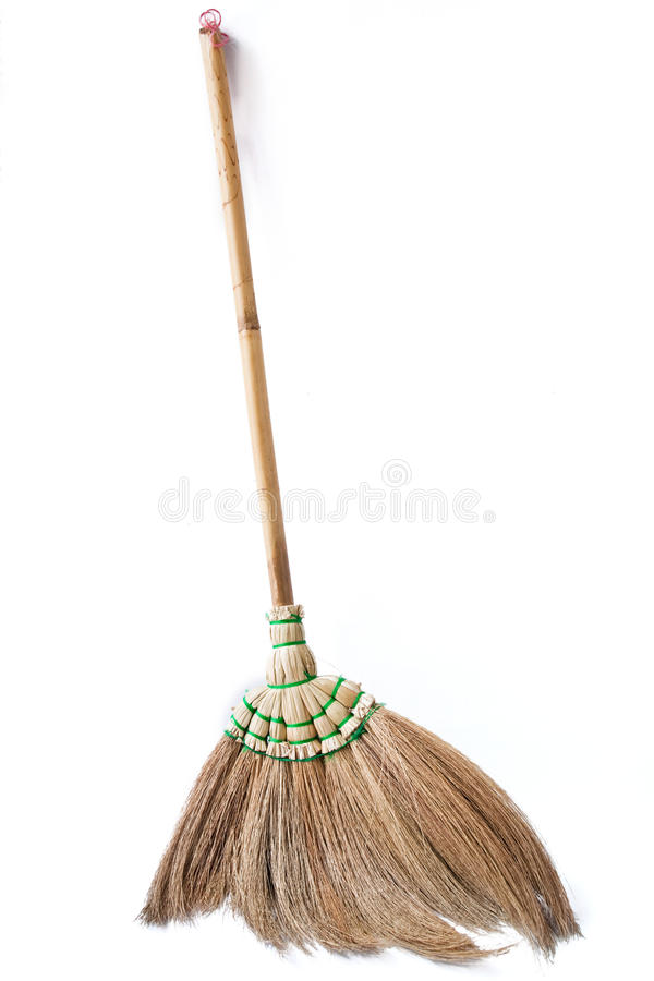 Broom. Wooden broom on white background stock images