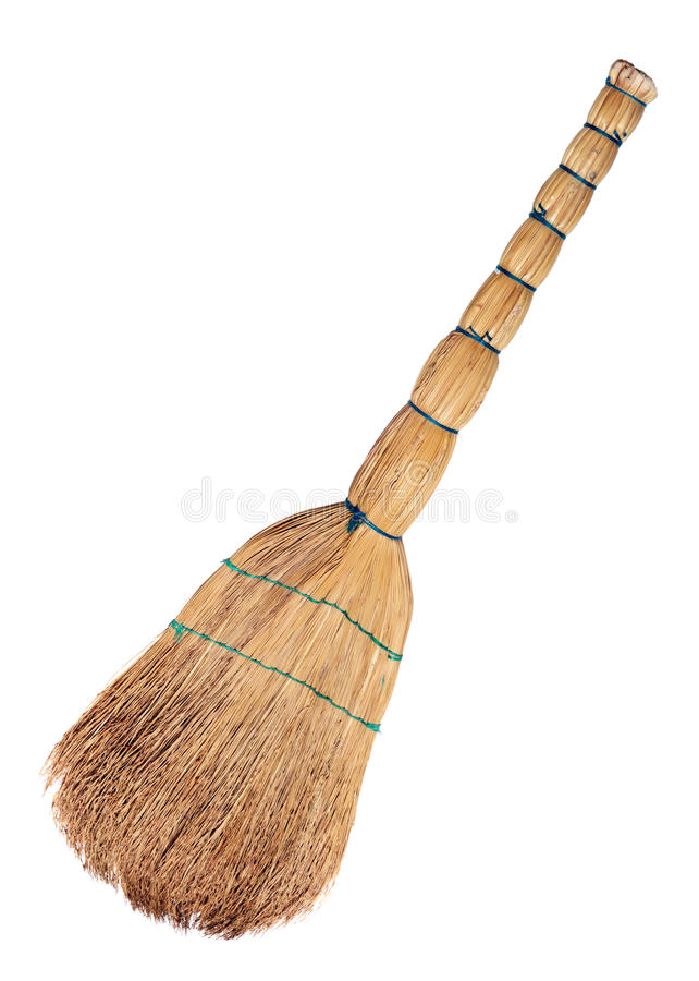 Broom. From a natural material, isolated on a white background royalty free stock photography