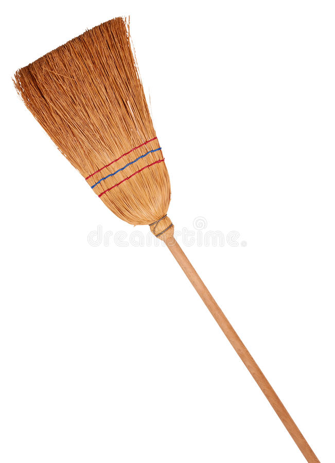 Broom. Classic broom, isolated on background stock images
