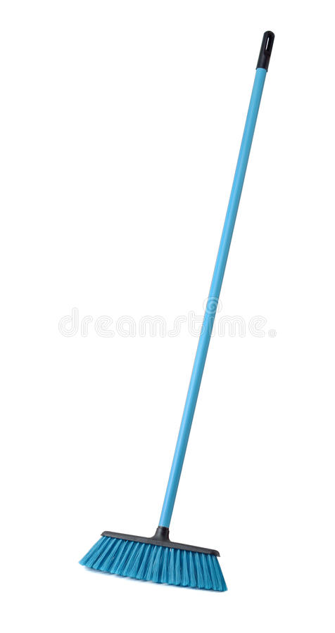 Broom. Blue plastic broom isolated on white stock images