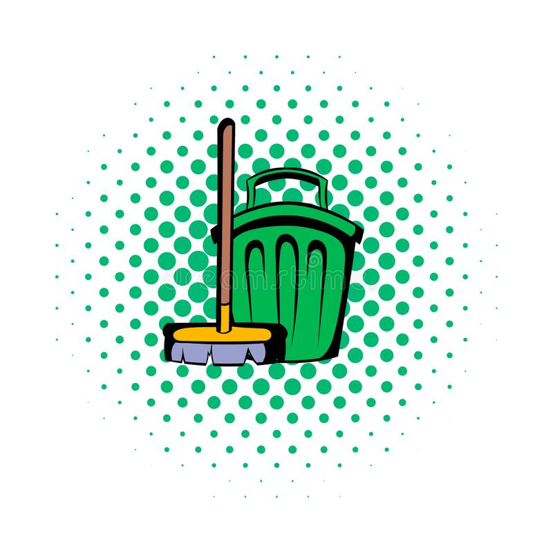 Broom and bucket comics icon. Isolated on a white royalty free illustration