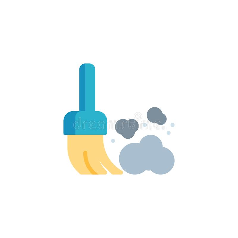 Broom and dust flat icon stock illustration