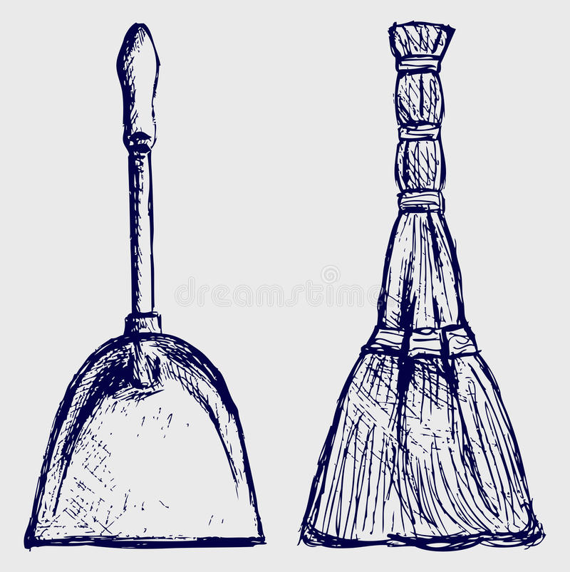 Download Broom and dustpan stock vector. Image of dustpan, childish - 26513702
