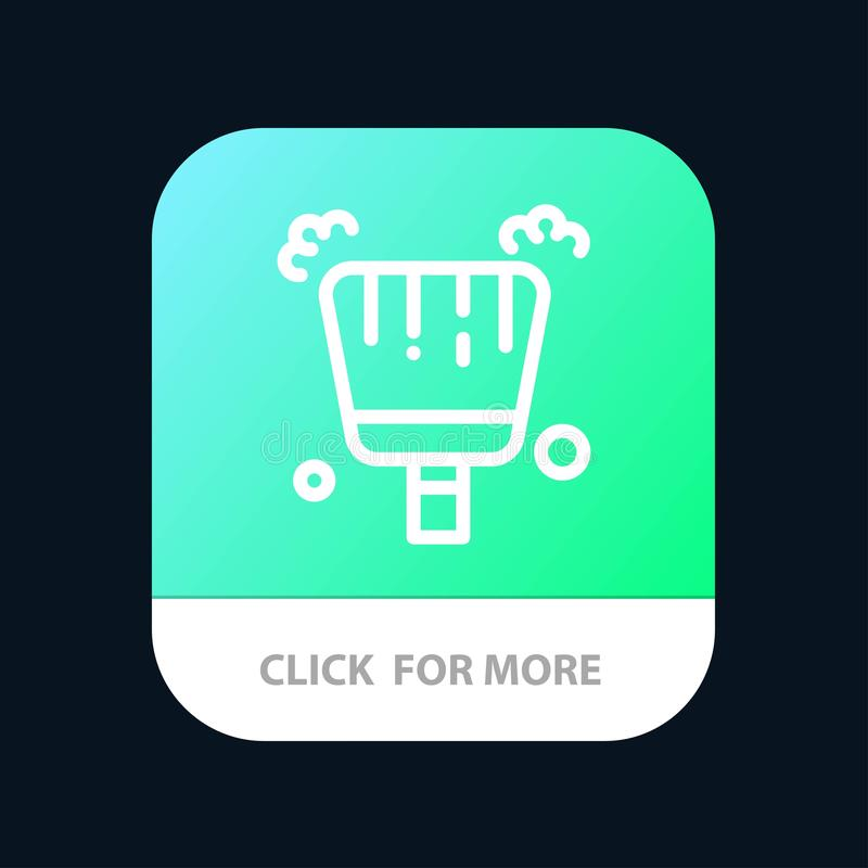 Broom, Dustpan, Sweep Mobile App Button. Android and IOS Line Version royalty free illustration