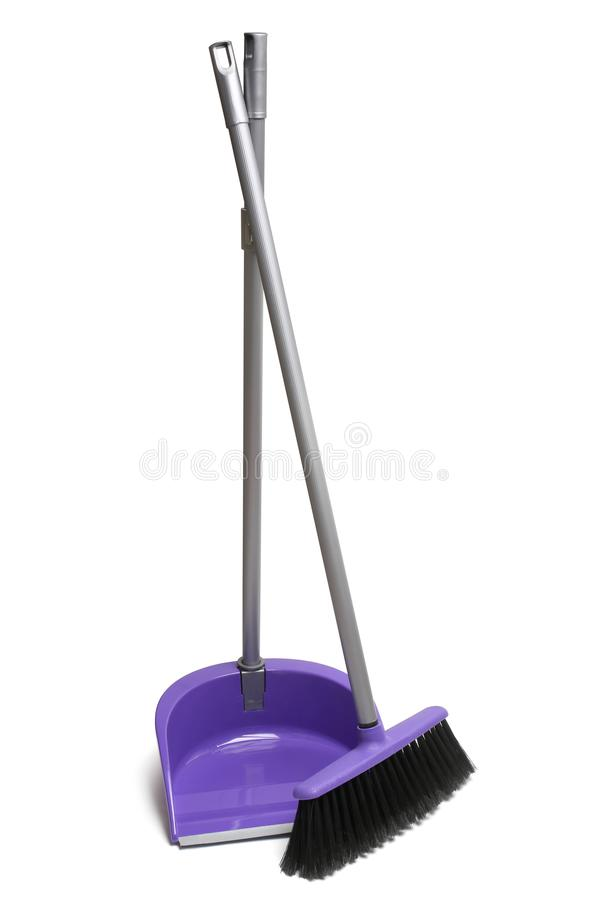 Broom and dustpan. On white background stock photos