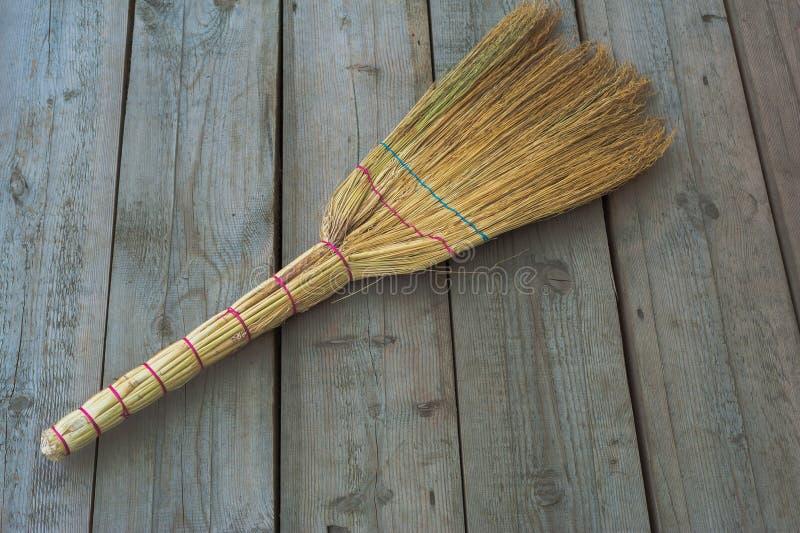 Broom on the floor stock image