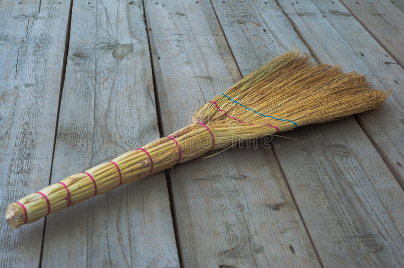 Broom on the floor royalty free stock images