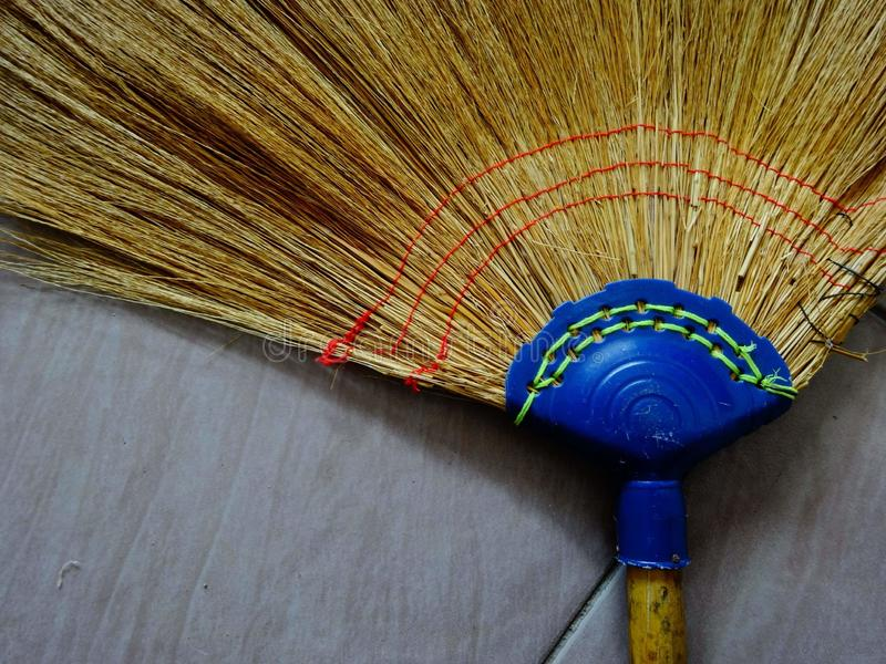 Broom. Gress hand-made garbage cleaning stock images