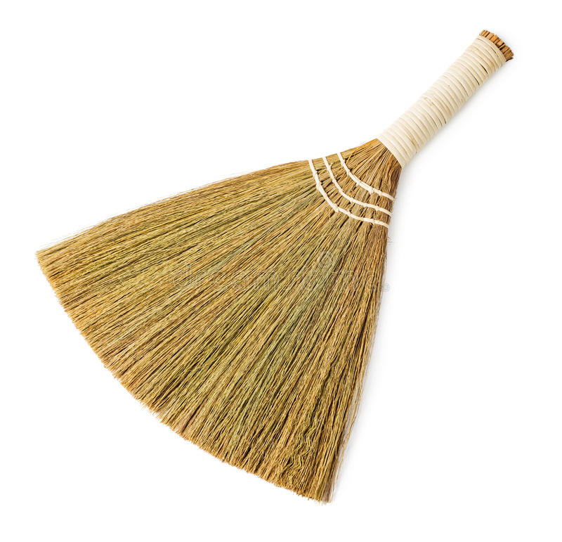 Broom. Isolated on white background stock photos