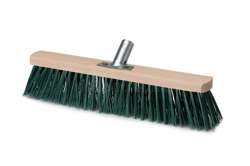 Broom isolated on white background. Hardwood handle. Broom isolated on white background. Cleaning equipment for housework and domestic life royalty free stock image