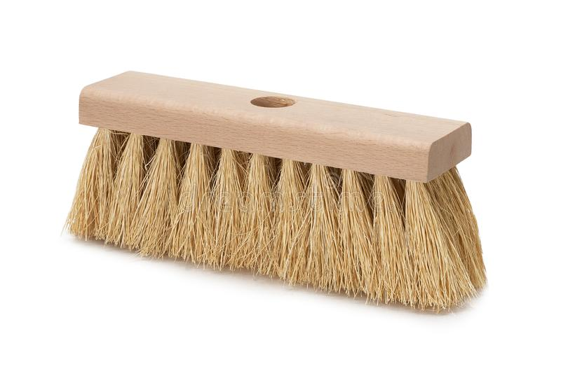 Broom isolated on white background. Hardwood handle. Broom isolated on white background. Cleaning equipment for housework and domestic life stock photography