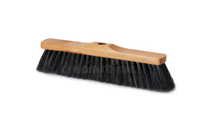 Broom isolated on white background. Hardwood handle. Broom isolated on white background. Cleaning equipment for housework and domestic life royalty free stock photography