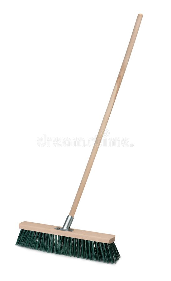Broom with long handle isolated on white background stock image