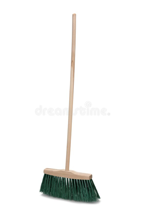 Broom with long handle isolated on white background stock photos