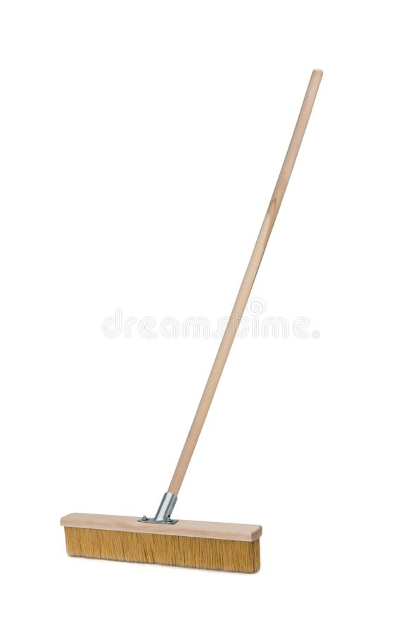 Broom with long handle isolated on white background royalty free stock image