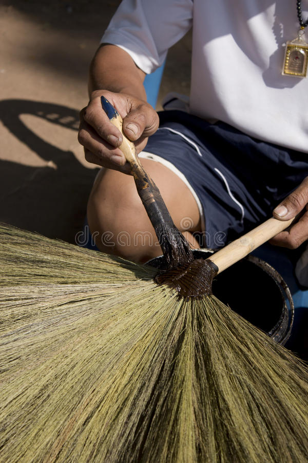 Broom production of thailand. Nongbualamphu Thailand the city produced brooms royalty free stock image
