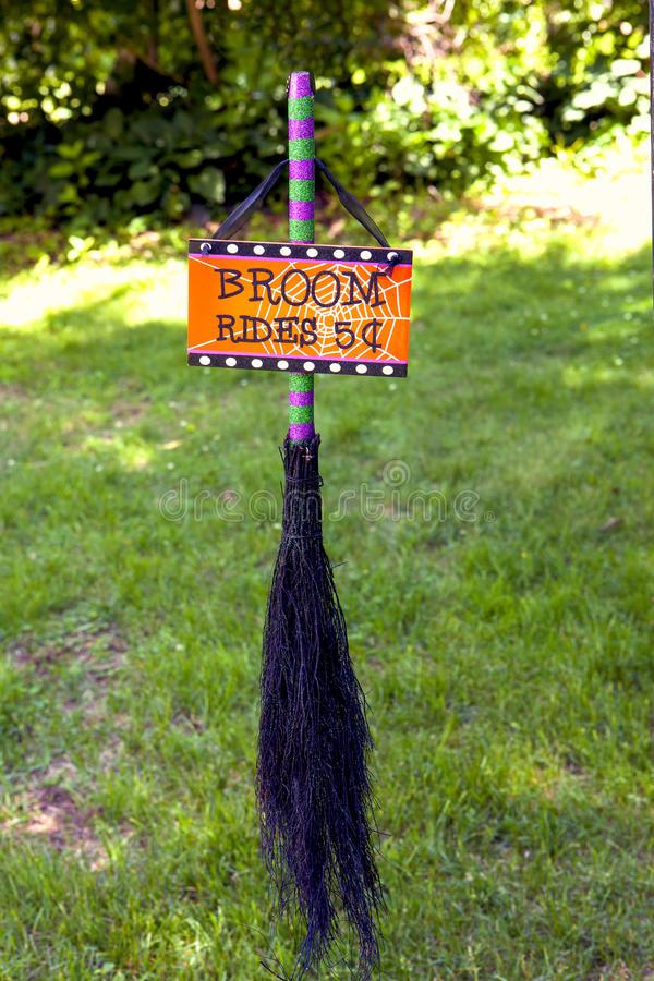 Broom Rides. A witches broom for halloween royalty free stock images