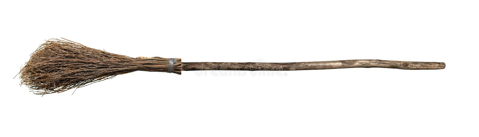 Broom from rods with wooden handle. Isolate on white background royalty free stock images