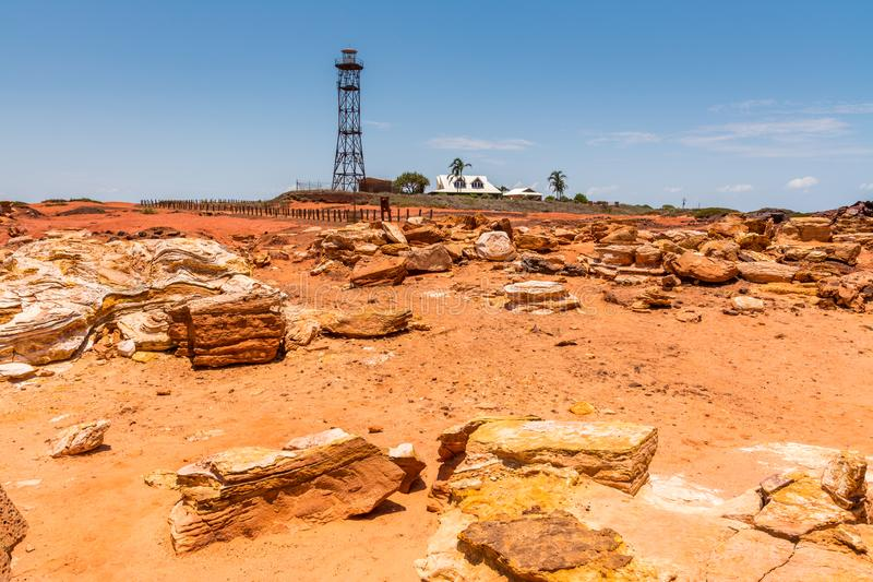 Station homestead set amongst the red dirt and colourful sandstone rocks stock photo