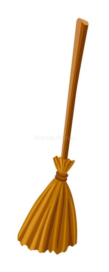 Broomstic heks Vector illustratie Bezem op witte achtergrond wordt geïsoleerd die Het bijkomende voorwerp van Halloween vector illustratie