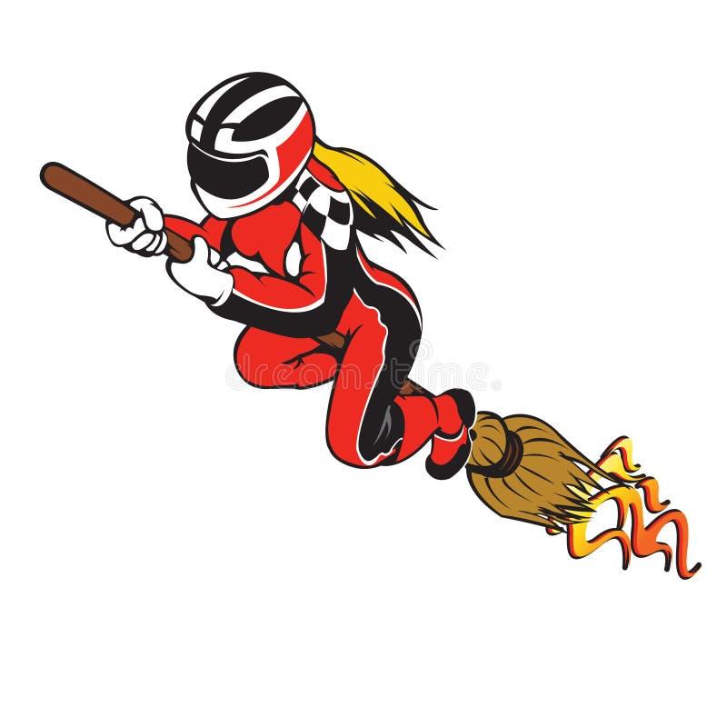 Broomstick Przyśpiesza Ścigać się ilustracja wektor