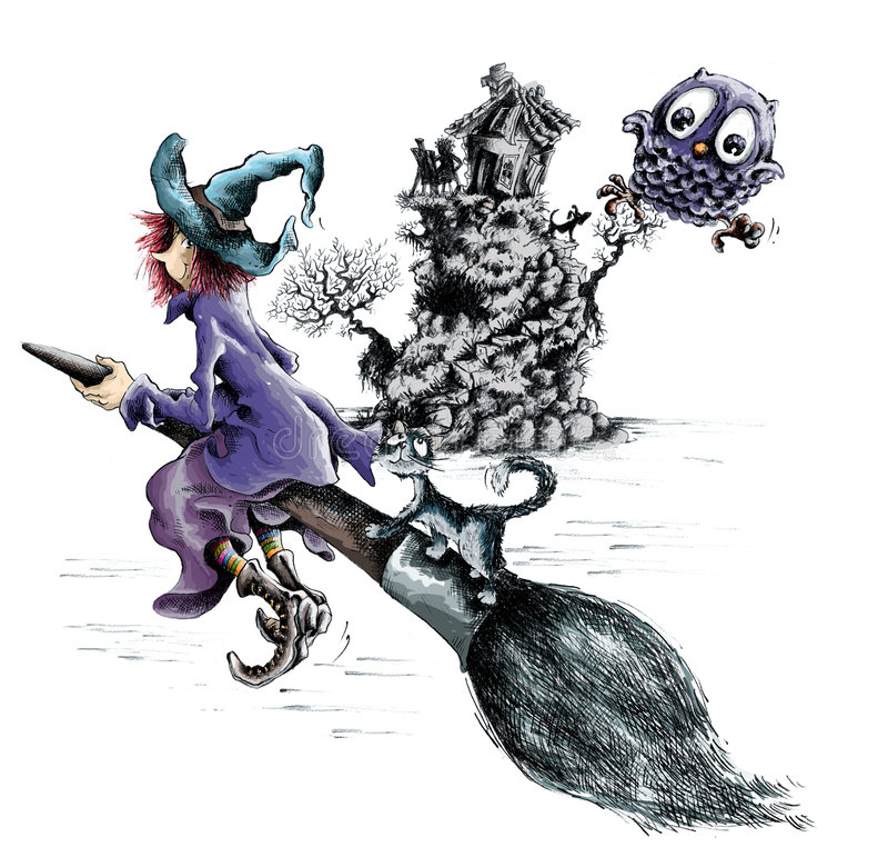 broomstickhäxa arkivbild