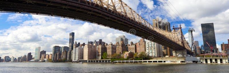 Bropanorama för NYC Queensboro royaltyfri foto