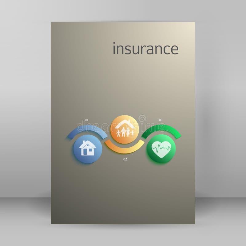 Broschüre der Versicherungsdienstabdeckungskonzept-Seite A4 vektor abbildung