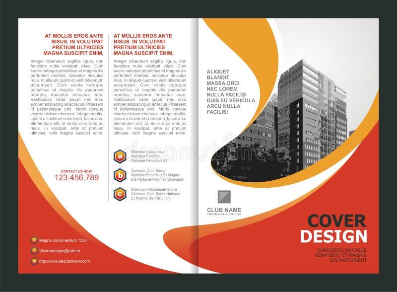 Broschüre, Flieger, Schablonen-Design mit orange und gelber Farbe lizenzfreie abbildung