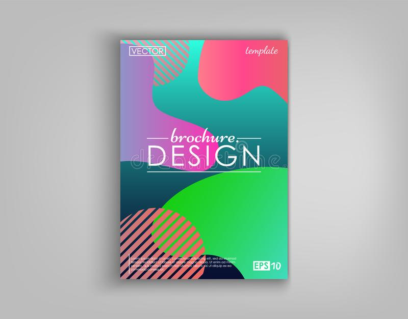 Broschüren-Abdeckungs-Design-Karten lokalisiert Flaches Design der dynamischen Mode Plakat, Fahne, Flieger, Plakat, Visitenkarte  stock abbildung