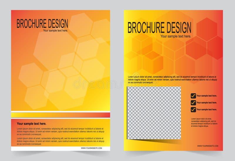 Broschüren-, Fliegerdesigngold und orange Steigungsschablone vektor abbildung