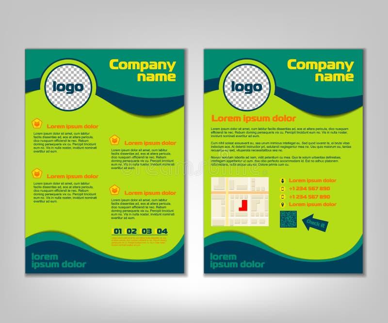 Broschüren-FliegerEntwurfschablone Front und Rückseite in der Größe A4 Geschäftshintergrund mit Marketing-Ikonen und infographic  vektor abbildung