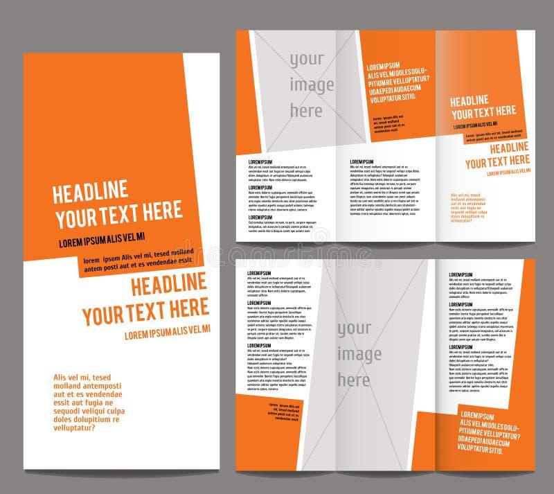 Broschürendesign-Schablonenvektor dreifachgefaltet lizenzfreie abbildung