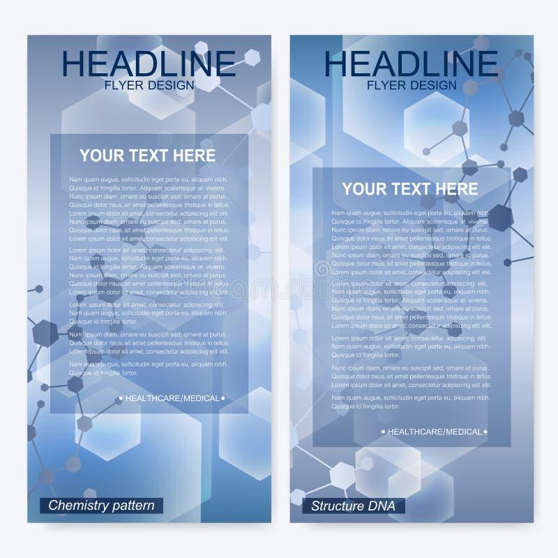 Broschürenfliegerplan TitelseitenUnternehmensidentitä5sschablone Wissenschaft und Technik-Design, Struktur DNA vektor abbildung