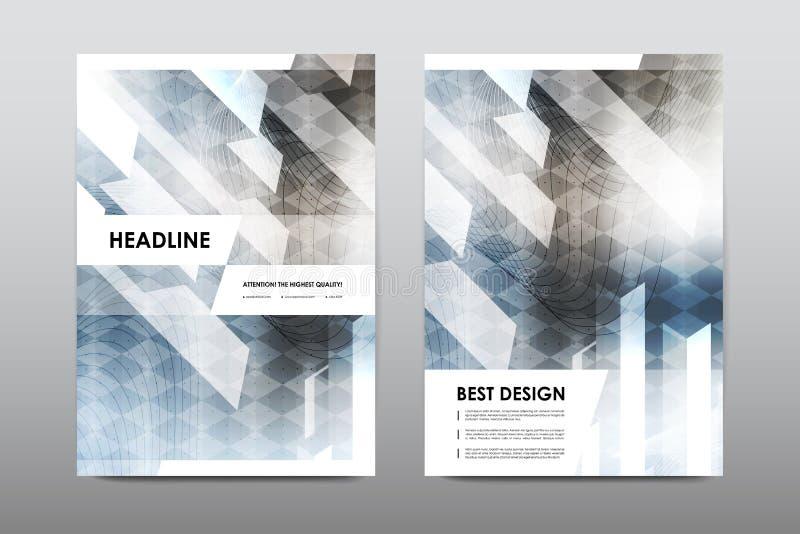 Broschürenplanschablonenflieger-Designvektor, Zeitschriftenbroschürenabdeckungs-Zusammenfassungshintergrund lizenzfreie abbildung