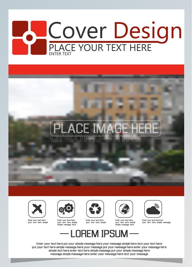 Broschürenschablone für jährliche Technologie bezogene reposts, Plan des Vektordesigns a4 mit Raum für Text und Fotos vier stock abbildung