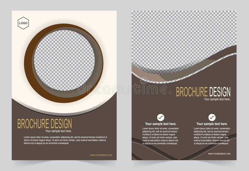 Broschürenschablone, Fliegerdesignmokka-Farbschablone stock abbildung