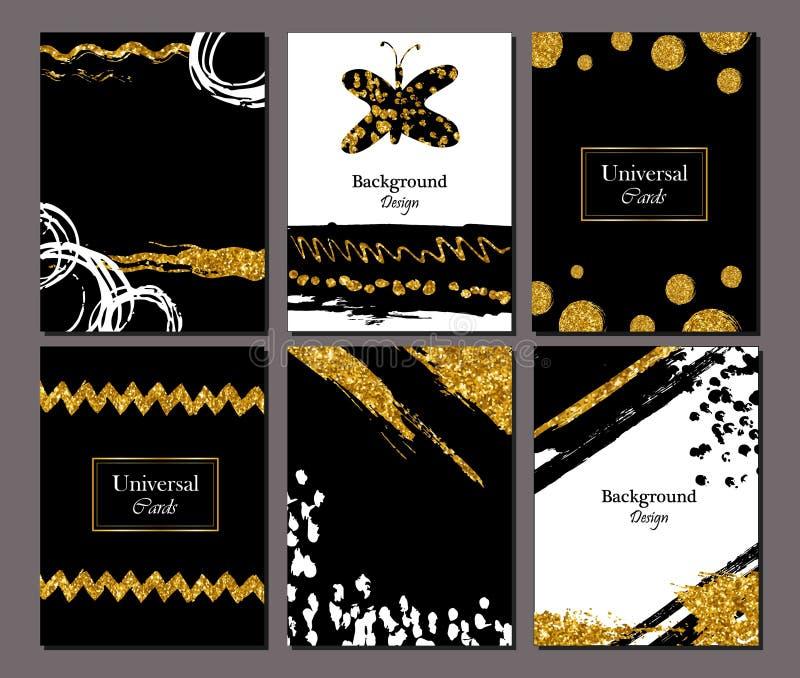 Broschürenschablonen-Designsatz mit Bürstenanschlag Vektorillustration Schmutz kardiert goldene Farbe, modernes Artplakat oder vektor abbildung