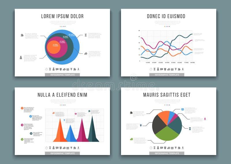 Broschürenschablonen mit infographics Gestaltungselementen Vektorsatz Diagramme, Diagramme, Kreisdiagramme und Diagramme stock abbildung