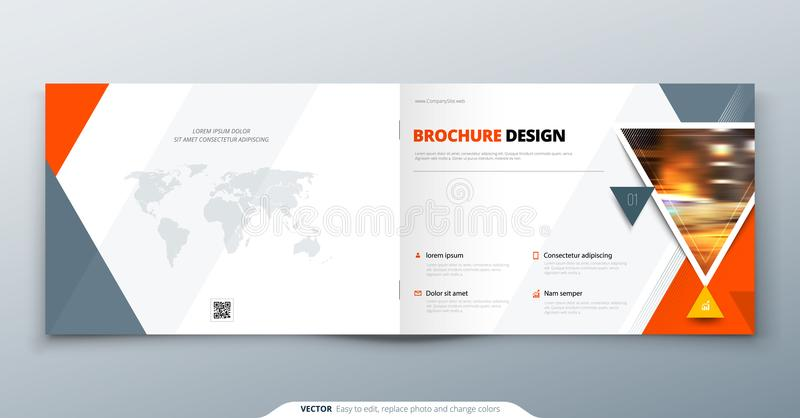 Broschürenschablonenplan, Abdeckungsdesignjahresbericht, Zeitschrift, Flieger oder Broschüre in A4 mit dem orange Dreieck geometr stock abbildung