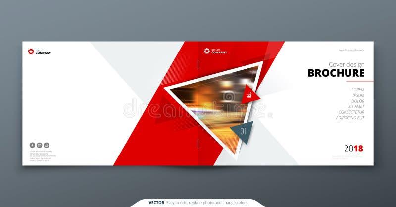 Broschürenschablonenplan, Abdeckungsdesignjahresbericht, Zeitschrift, Flieger oder Broschüre in A4 mit geometrischen Formen des D stock abbildung