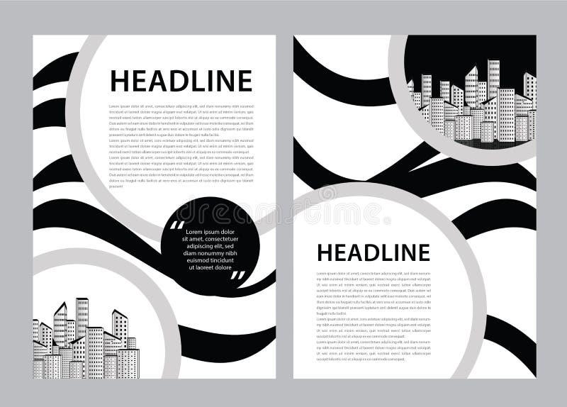 Broschürenschablonenvektor, Geschäftsfliegerentwurf, Zeitschriftenplan a4, Jahresbericht, Katalog, Broschüre, Broschüre, Grafikde lizenzfreie abbildung