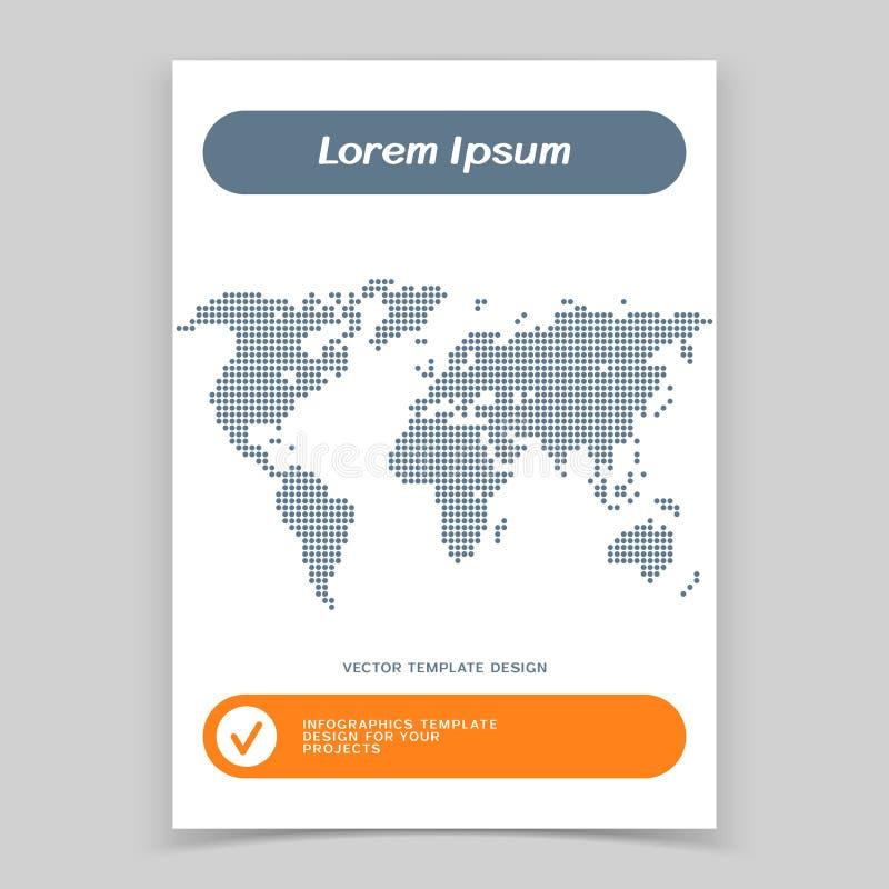 Brosch?renabdeckung oder Netzfahnenentwurf mit Weltkarte vektor abbildung