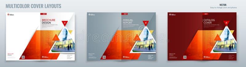 Brosch?renschablonen-Planentwurf mit Dreiecken Firmenkundengesch?ftjahresbericht, Katalog, Zeitschrift, Fliegermodell vektor abbildung