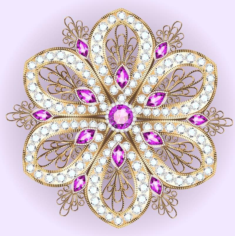 broschhänge med och ädelstenar filigree royaltyfri illustrationer