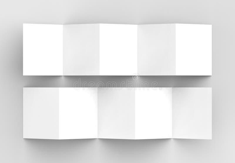 broschyr för 10 sida, åtlöje för broschyr för fyrkant för dragspels- veck för 5 panel upp royaltyfri bild