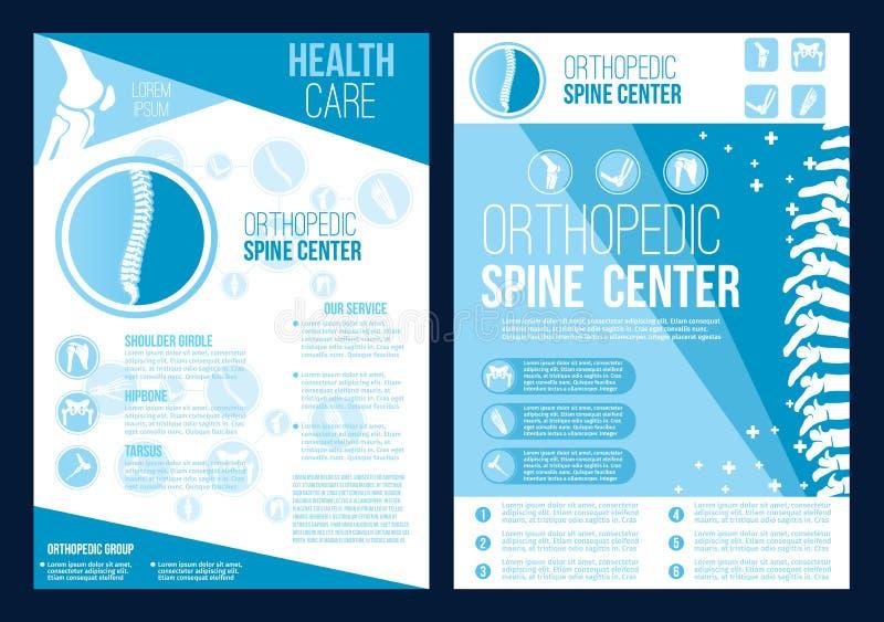 Broschyr för vård- mitt för vektorortopedirygg royaltyfri illustrationer
