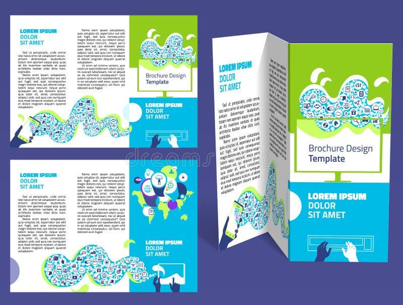 Broschyr häftez-veck orientering Redigerbar designmall royaltyfri illustrationer