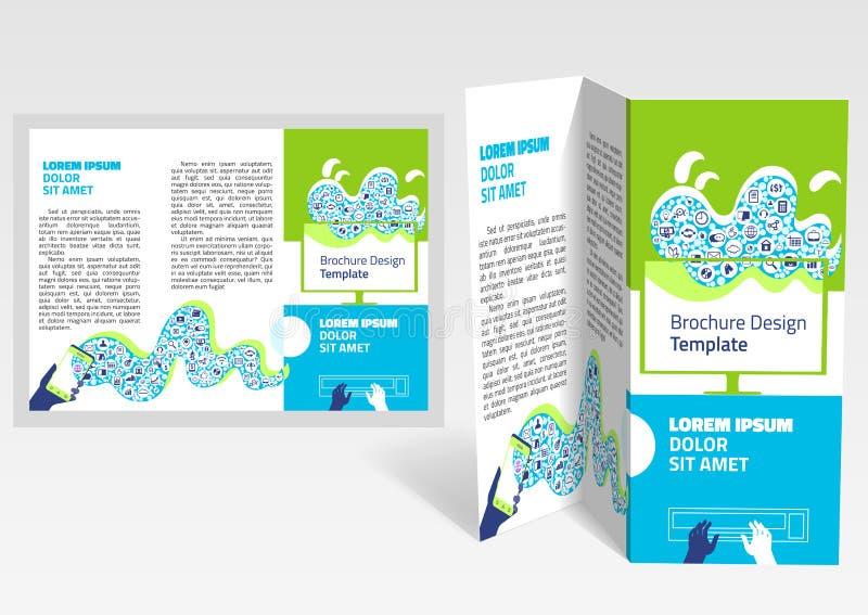 Broschyr häftez-veck orientering Redigerbar designmall vektor illustrationer