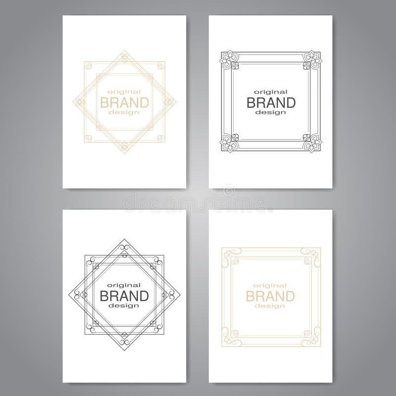 Broschyr med dekorativ ram-, reklamblad- eller bokdesign med den enkla dekorativa gränsen, affisch, modern orienteringsmall stock illustrationer